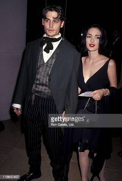 Actor Johnny Depp and actress Winona Ryder attend the 48th Annual Golden Globe Awards on January 19 1991 at Beverly Hilton Hotel in Beverly Hills...