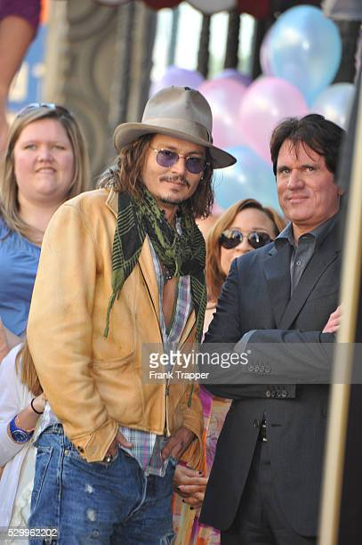 Actor Johnny Depp and director Rob Marshall attend the ceremony honoring Penelope Cruz with her Star on the Hollywood Walk of Fame