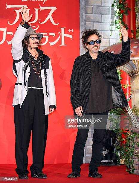 Actor Johnny Depp and director Tim Burton attend the 'Alice In Wonderland' Japan Premiere at Ebisu Garden Place on March 22 2010 in Tokyo Japan The...