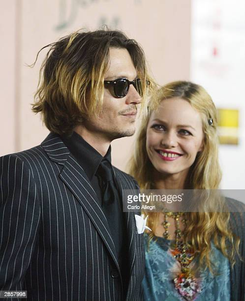 Actor Johnny Depp and girlfriend Vanessa Paradis attend the 9th Annual Critics' Choice Awards on January 10 2004 at the Beverly Hills Hotel in...