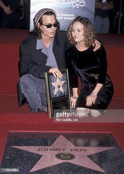 Actor Johnny Depp and girlfriend Vanessa Paradis attend the Hollywood Walk of Fame ceremony to honor Johnny Depp on November 16 1999 at 7018...