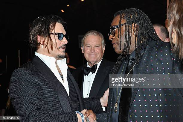 Actor Johnny Depp and Kazembe Ajamu attend The Art of Elysium 2016 HEAVEN Gala presented by Vivienne Westwood Andreas Kronthaler at 3LABS on January...