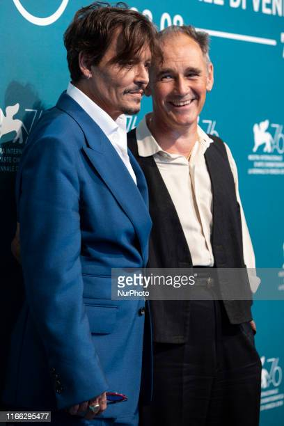 Actor Johnny Depp and Mark Rylance attends ''Waiting For The Barbarians'' photocall during the 76th Venice Film Festival on September 06, 2019 in...