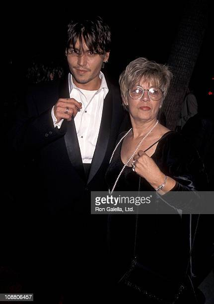 "Actor Johnny Depp and mother Betty Sue Wells attend ""Nick of Time"" Beverly Hills Premiere on November 20, 1995 at Samuel Goldwyn Theatre in Beverly..."