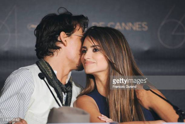 """Actor Johnny Depp and Penelope Cruz attend the """"Pirates of the Caribbean: On Stranger Tides"""" press conference at the Palais des Festivals during the..."""