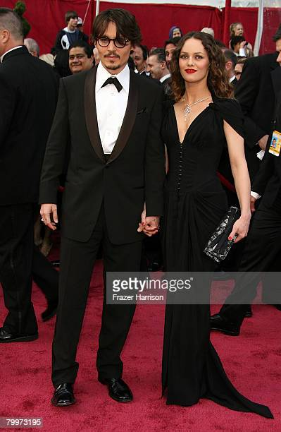 Actor Johnny Depp and singer Vanessa Paradis arrive at the 80th Annual Academy Awards held at the Kodak Theatre on February 24 2008 in Hollywood...
