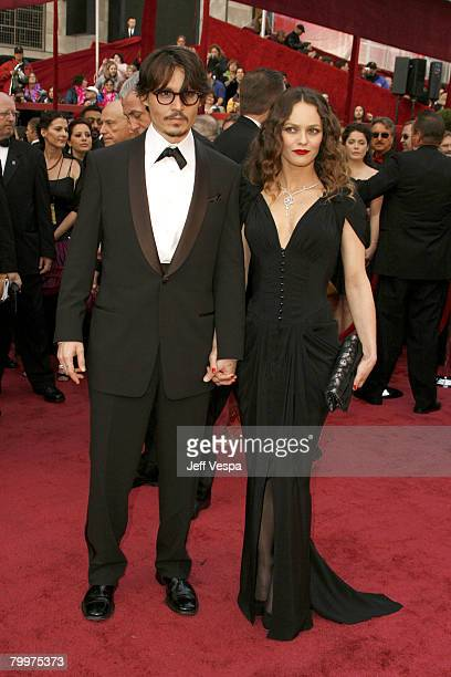 Actor Johnny Depp and singer Vanessa Paradis attend the 80th Annual Academy Awards at the Kodak Theatre on February 24, 2008 in Los Angeles,...