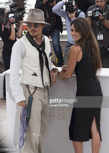 US actor Johnny Depp and Spanish actress Penelope Cruz attend the 'Pirates of the Caribbean On Stranger Tides' Photocall during the 64th Annual...
