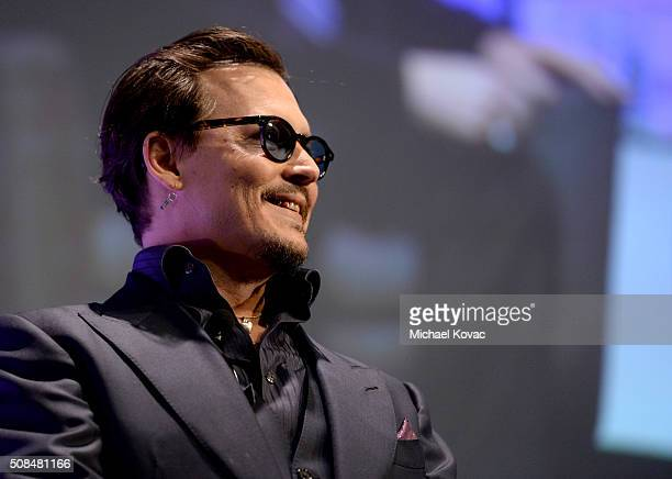 Actor Johnny Depp appears onstage at The Santa Barbara International Film Festival on February 4 2016 in Santa Barbara California