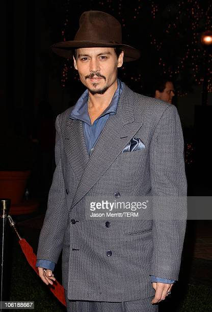 Actor Johnny Depp arrives at a special screening of DreamWorks Pictures' Sweeney Todd at the Paramount Theater on December 5 2007 in Los Angeles...