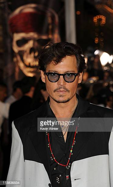 """Actor Johnny Depp arrives at premiere of Walt Disney Pictures' """"Pirates of the Caribbean: On Stranger Tides"""" held at Disneyland on May 7, 2011 in..."""