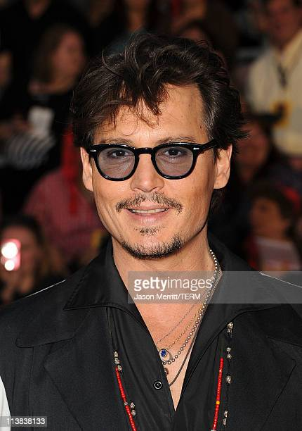 Actor Johnny Depp arrives at the premiere of Walt Disney Pictures' 'Pirates of the Caribbean On Stranger Tides' held at Disneyland on May 7 2011 in...