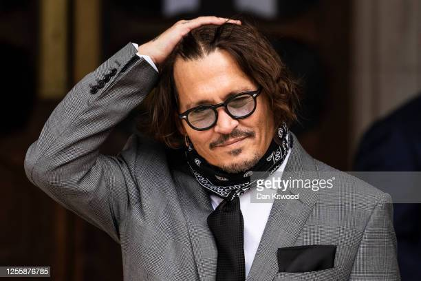 Actor Johnny Depp arrives at the Royal Courts of Justice Strand on July 13 2020 in London England American actor Johnny Depp is taking News Group...