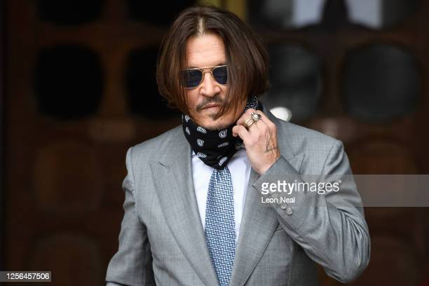 Actor Johnny Depp arrives at the Royal Courts of Justice, Strand on July 16, 2020 in London, England. American actor Johnny Depp is taking News Group...