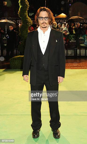 Actor Johnny Depp arrives at the Royal World Premiere of 'Alice In Wonderland' at the Odeon Leicester Square on February 25 2010 in London England