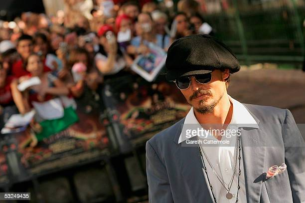 Actor Johnny Depp arrives at the UK Premiere of Charlie And The Chocolate Factory at the Odeon Leicester Square on July 17 2005 in London England