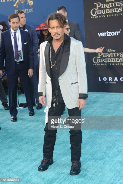 Actor Johnny Depp arrives for Premiere Of Disney's 'Pirates Of The Caribbean Dead Men Tell No Tales' held at Dolby Theatre on May 18 2017 in...