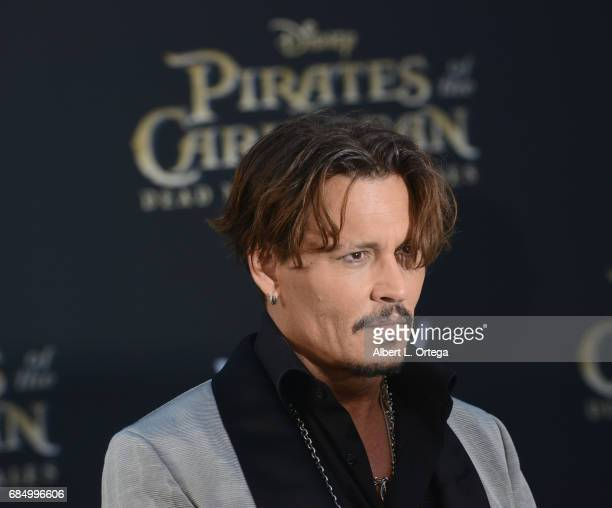 Actor Johnny Depp arrives for Premiere Of Disney's Pirates Of The Caribbean Dead Men Tell No Tales held at Dolby Theatre on May 18 2017 in Hollywood...