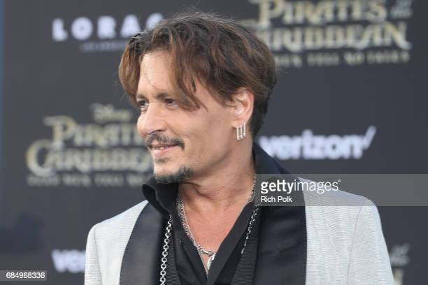 """Actor Johnny Depp at the Premiere of Disney's and Jerry Bruckheimer Films' """"Pirates of the Caribbean Dead Men Tell No Tales"""" at the Dolby Theatre in..."""
