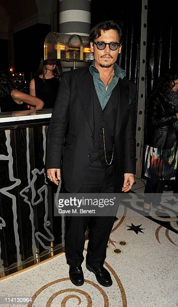 Actor Johnny Depp attends an after party celebrating the UK Premiere of 'Pirates of the Caribbean On Stranger Tides' at Massimo Restaurant Oyster Bar...