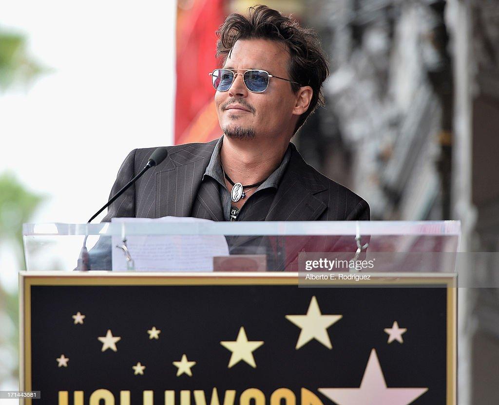 Actor Johnny Depp attends Legendary Producer Jerry Bruckheimer Hollywood Walk of Fame Star Ceremony on the Hollywood Walk of Fame on June 24, 2012 in Hollywood, California.