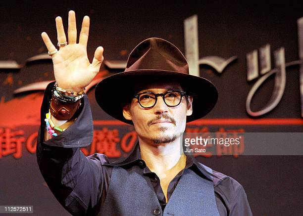 Actor Johnny Depp attends Sweeney Todd press conference at Grand Hyatt Tokyo on January 9 2008 in Tokyo Japan