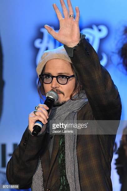 Actor Johnny Depp attends the Alice In Wonderland Great Big Ultimate Fan Event at Hollywood Highland Courtyard on February 19 2010 in Hollywood...