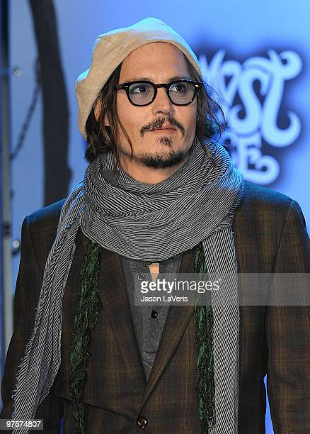 Actor Johnny Depp attends the 'Alice In Wonderland' Great Big Ultimate Fan Event at Hollywood Highland Courtyard on February 19 2010 in Hollywood...