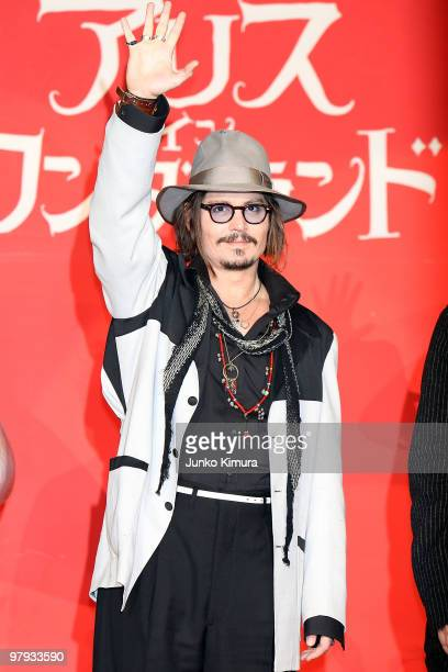 Actor Johnny Depp attends the 'Alice In Wonderland' Japan Premiere at Ebisu Garden Place on March 22 2010 in Tokyo Japan The film will open on April...
