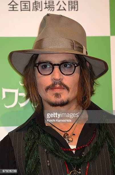 Actor Johnny Depp attends the Alice In Wonderland press conference at Park Hyatt Tokyo on March 22 2010 in Tokyo Japan The film will open on April 17...