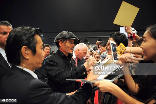 Actor Johnny Depp attends the Japan Premiere of Pirates Of Caribbean Dead Men Tell No Tales in Tokyo Japan on June 20 2017