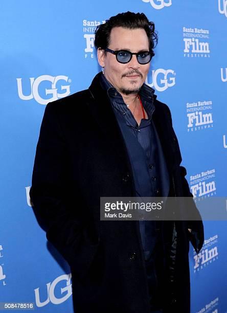 Actor Johnny Depp attends the Maltin Modern Master award tribute during the 31st Santa Barbara International Film Festival at the Arlington Theater...