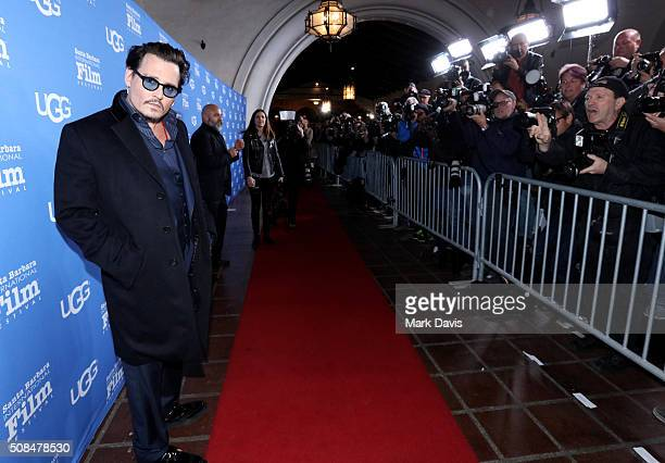 Actor Johnny Depp attends the Maltin Modern Master award tribute during the 31st Santa Barbara International Film Festival at the Arlington Theater...