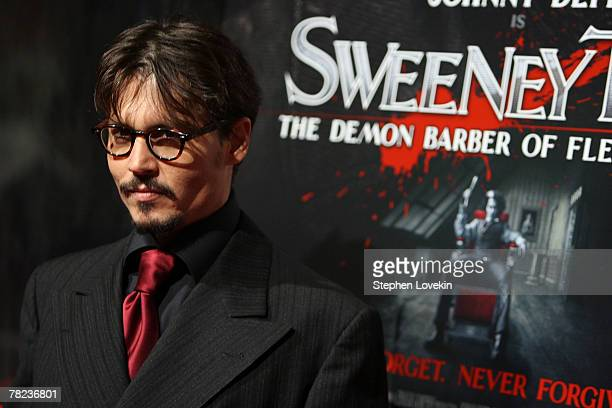 Actor Johnny Depp attends the New York premiere of 'Sweeney Todd The Demon Barber of Fleet Street ' at the Ziegfeld theatre on December 03 2007 in...