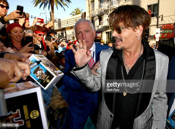 Actor Johnny Depp attends the premiere of Disney's 'Pirates Of The Caribbean Dead Men Tell No Tales' at Dolby Theatre on May 18 2017 in Hollywood...