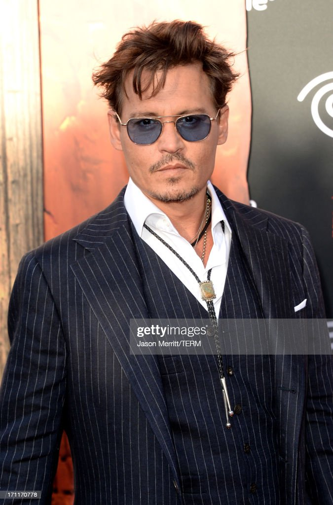 Actor Johnny Depp attends the premiere of Walt Disney Pictures' 'The Lone Ranger' at Disney California Adventure Park on June 22, 2013 in Anaheim, California.