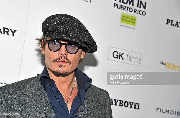 Actor Johnny Depp attends the 'The Rum Diary' New York premiere at the Museum of Modern Art on October 25 2011 in New York City