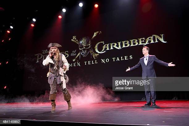 Actor Johnny Depp dressed as Captain Jack Sparrow of PIRATES OF THE CARIBBEAN DEAD MEN TELL NO TALES and President of Walt Disney Studios Motion...