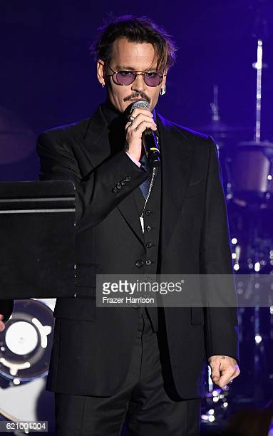 Actor Johnny Depp is honored at the 2016 Rhonda's Kiss Benefit at El Rey Theatre on November 3 2016 in Los Angeles California