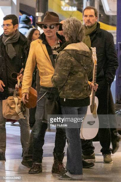 Actor Johnny Depp is seen arriving from London by Eurostar at Gare du Nord station on December 21 2018 in Paris France