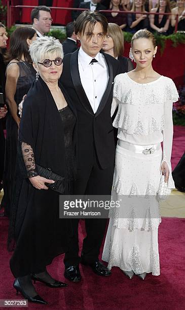 Actor Johnny Depp , mother Betty Sue Palmer and girlfriend Vanessa Paradis attend the 76th Annual Academy Awards on February 29, 2004 at the Kodak...