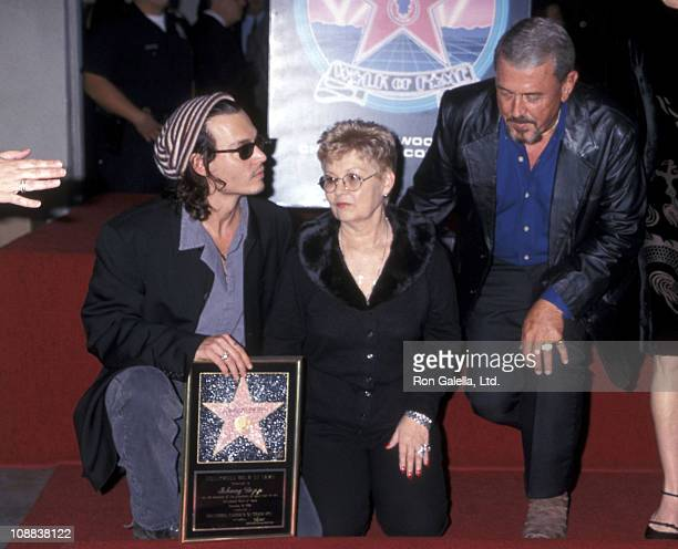 Actor Johnny Depp, mother Betty Sue Wells and father John Depp attend the Hollywood Walk of Fame ceremony to honor Johnny Depp on November 16, 1999...