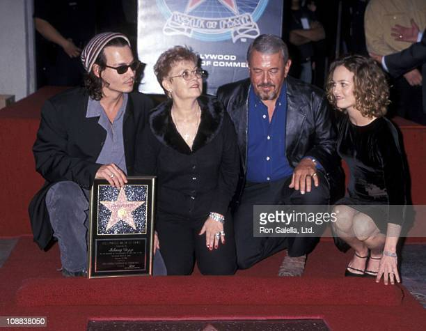 Actor Johnny Depp, mother Betty Sue Wells, father John Depp and girlfriend Vanessa Paradis attend the Hollywood Walk of Fame ceremony to honor Johnny...