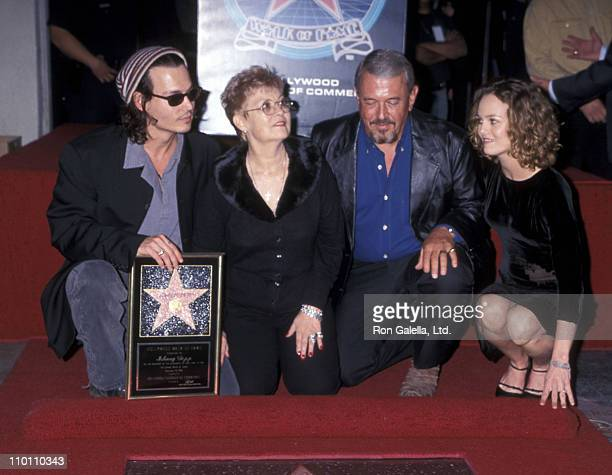 Actor Johnny Depp mother Betty Sue Wells father John Depp and girlfriend Vanessa Paradis attend the Hollywood Walk of Fame ceremony to honor Johnny...