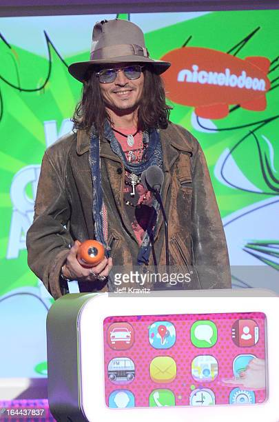 Actor Johnny Depp onstage at Nickelodeon's 26th Annual Kids' Choice Awards at USC Galen Center on March 23 2013 in Los Angeles California