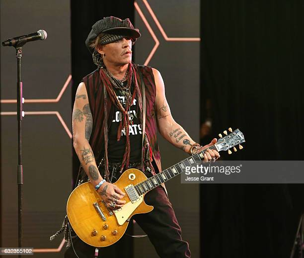 Actor Johnny Depp performs onstage at the TEC Awards during NAMM Show 2017 at the Anaheim Hilton on January 21 2017 in Anaheim California