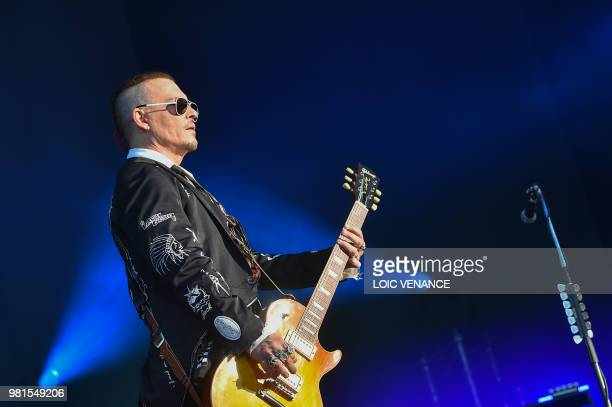 US actor Johnny Depp performs with The Hollywood Vampires band as part of the Hellfest metal music festival in Clisson western France on June 22 2018