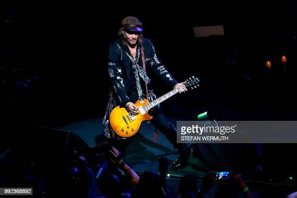 US actor Johnny Depp performs with The Hollywood Vampires band during the 52th Montreux Jazz Festival on July 5 2018 in Montreux