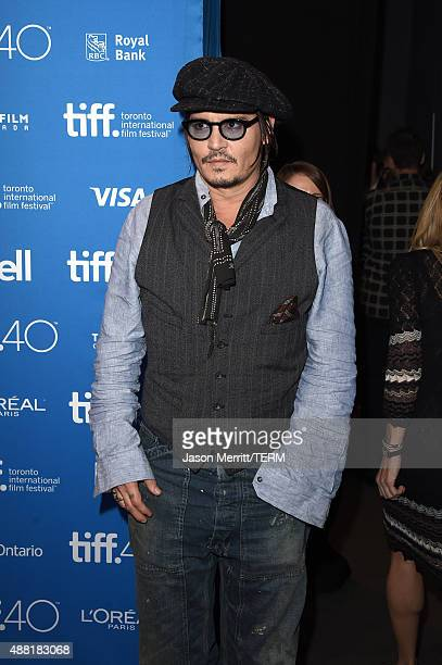 Actor Johnny Depp poses during the Black Mass press conference at the 2015 Toronto International Film Festival at TIFF Bell Lightbox on September 14...
