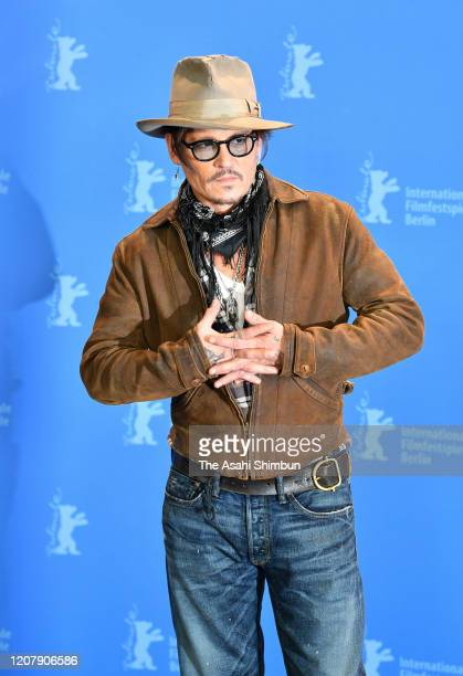 Actor Johnny Depp poses during the Minamata photo call at the 70th Berlinale International Film Festival Berlin at Grand Hyatt Hotel on February 21...